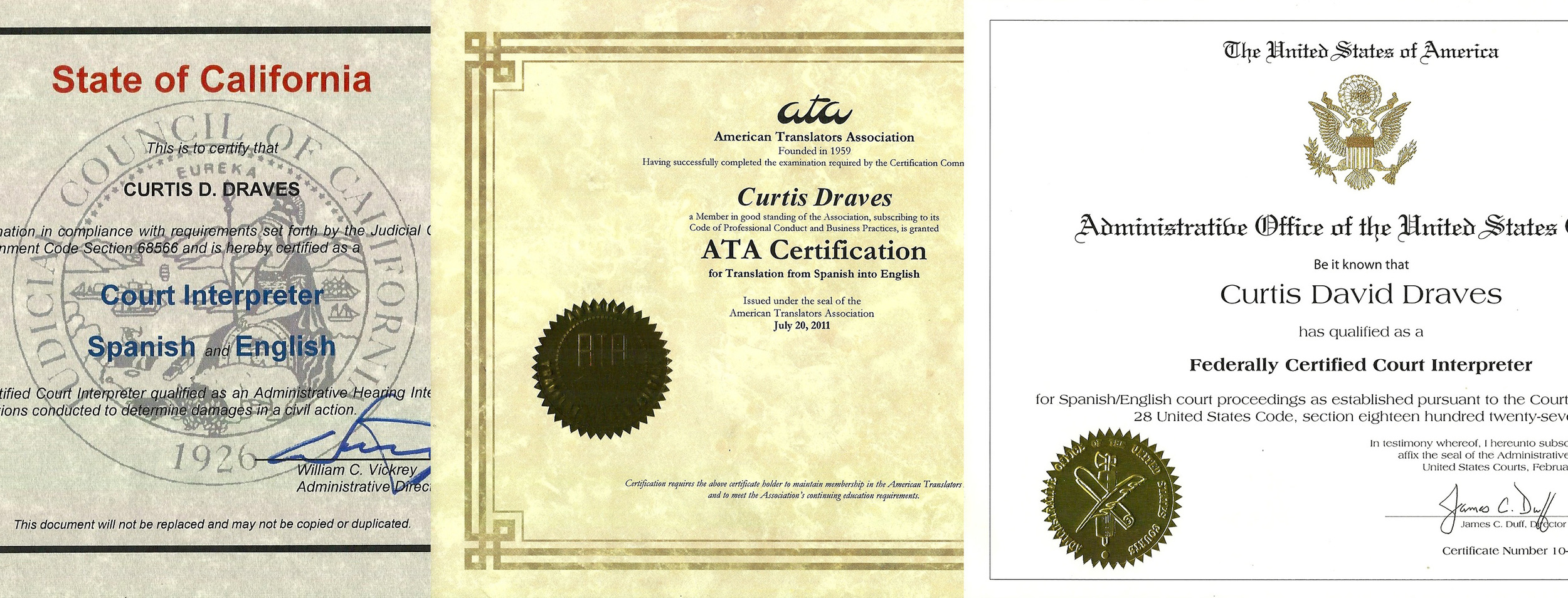 Qualifications Curtis Draves