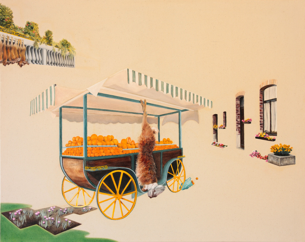 Little Pieces (Orange Wagon) - Finalist in the Metro Prize  2010 Oil on canvas 2009 67 x 84 cm