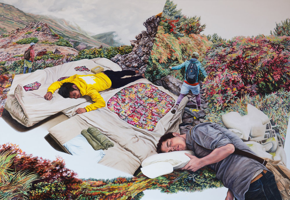 Kevin Chin, No Rest, 2015, oil on linen, 137 x 198 cm