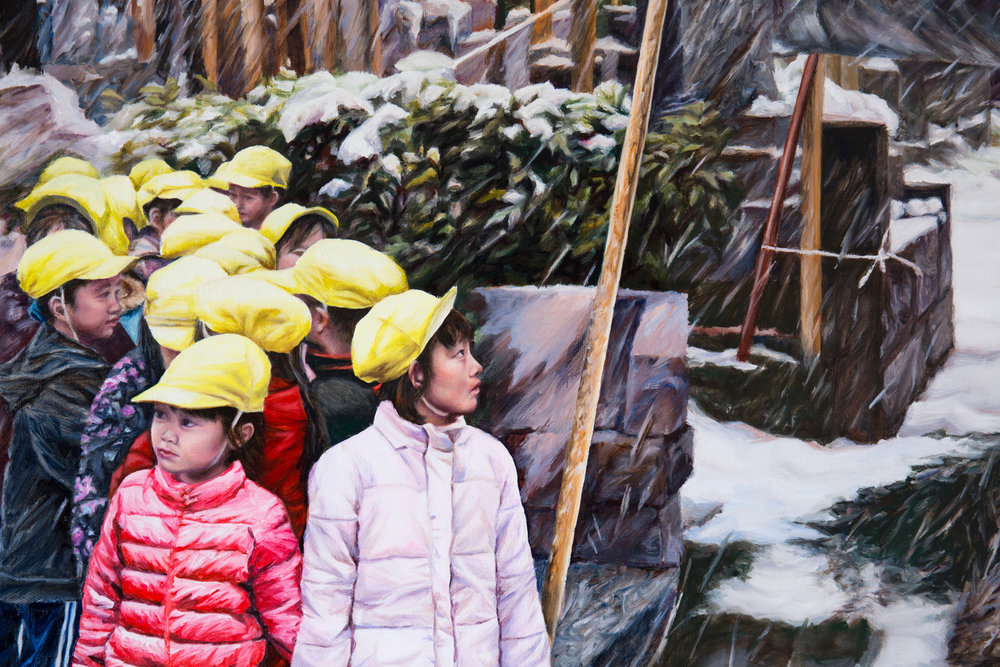 Kevin Chin, Sheltered (detail), 2017, oil on linen, 97 x 142 cm