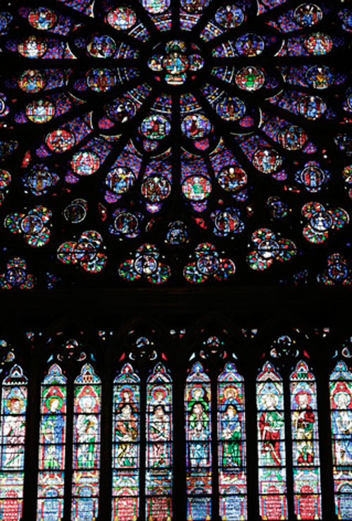 Detalle vidriera. Catedral de Notredame. Paris. Francia