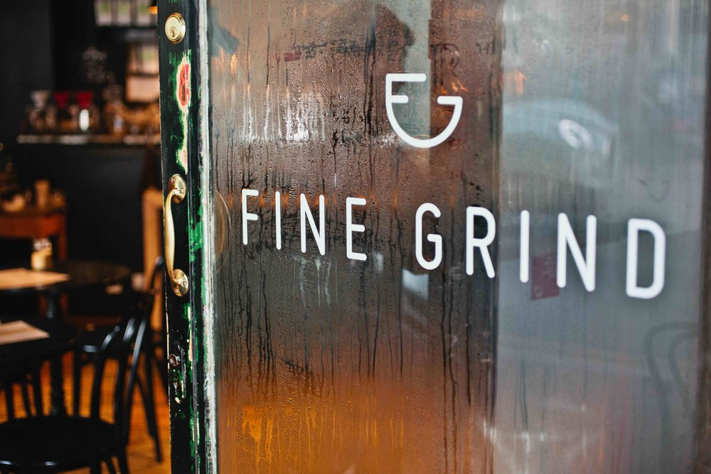 Fine Grind Coffee Shop Tunbridge Wells Logo Design Window Decals