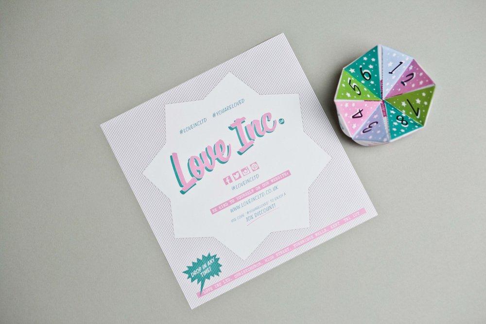 Flyer design and print for Love Inc. Ltd Tunbridge Wells Kent
