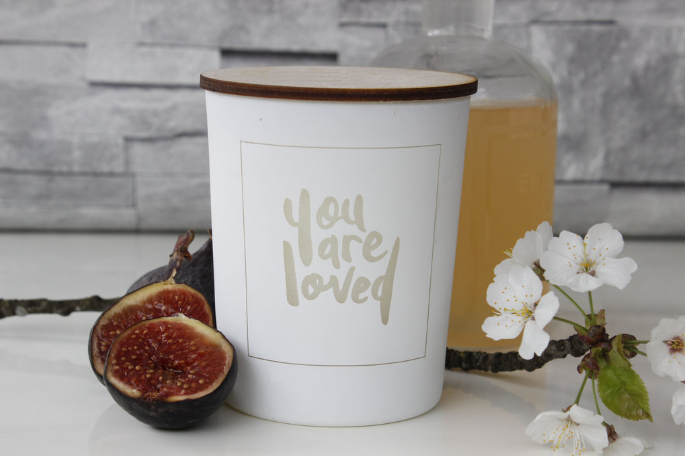 Hand lettered candle product design for Love Inc. Ltd shop in Tunbridge Wells