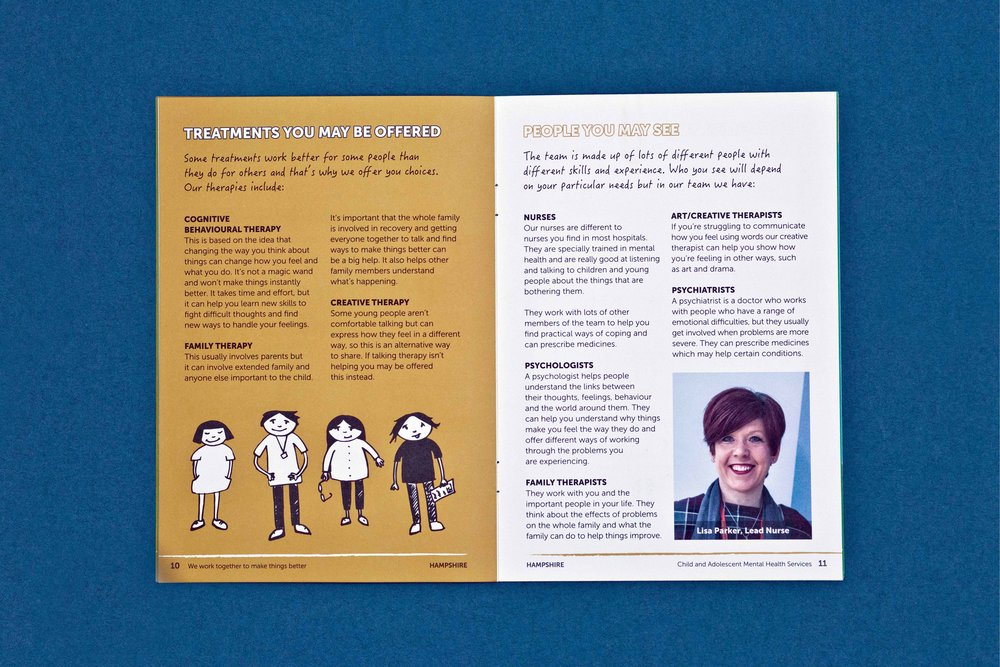 Sussex Partnership NHS Foundation Trust, Hampshire CAMHS Booklet Design Internal Spread.
