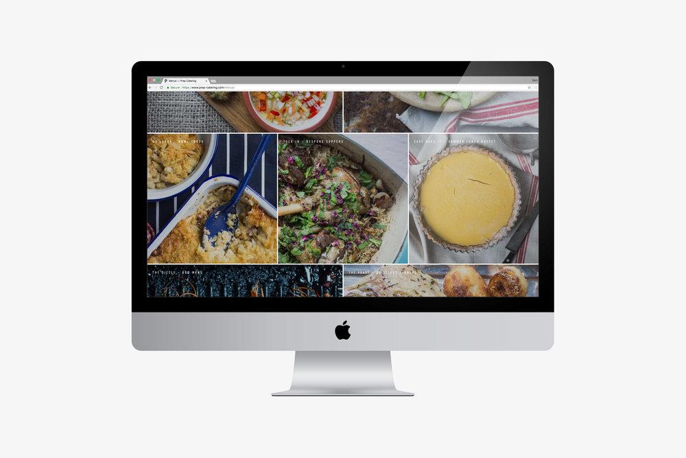 Prep-Catering Westerham website design by Beth Cook Design East Sussex, menus page