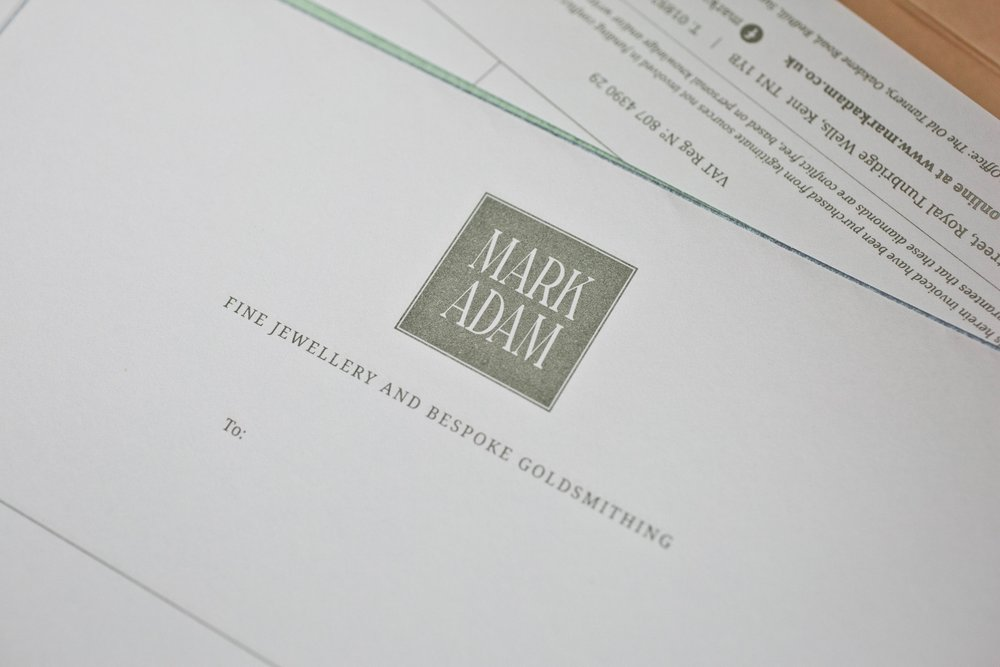 Business Stationery Design for MarkAdam Jeweller Tunbridge Wells, Kent by Beth Cook Design