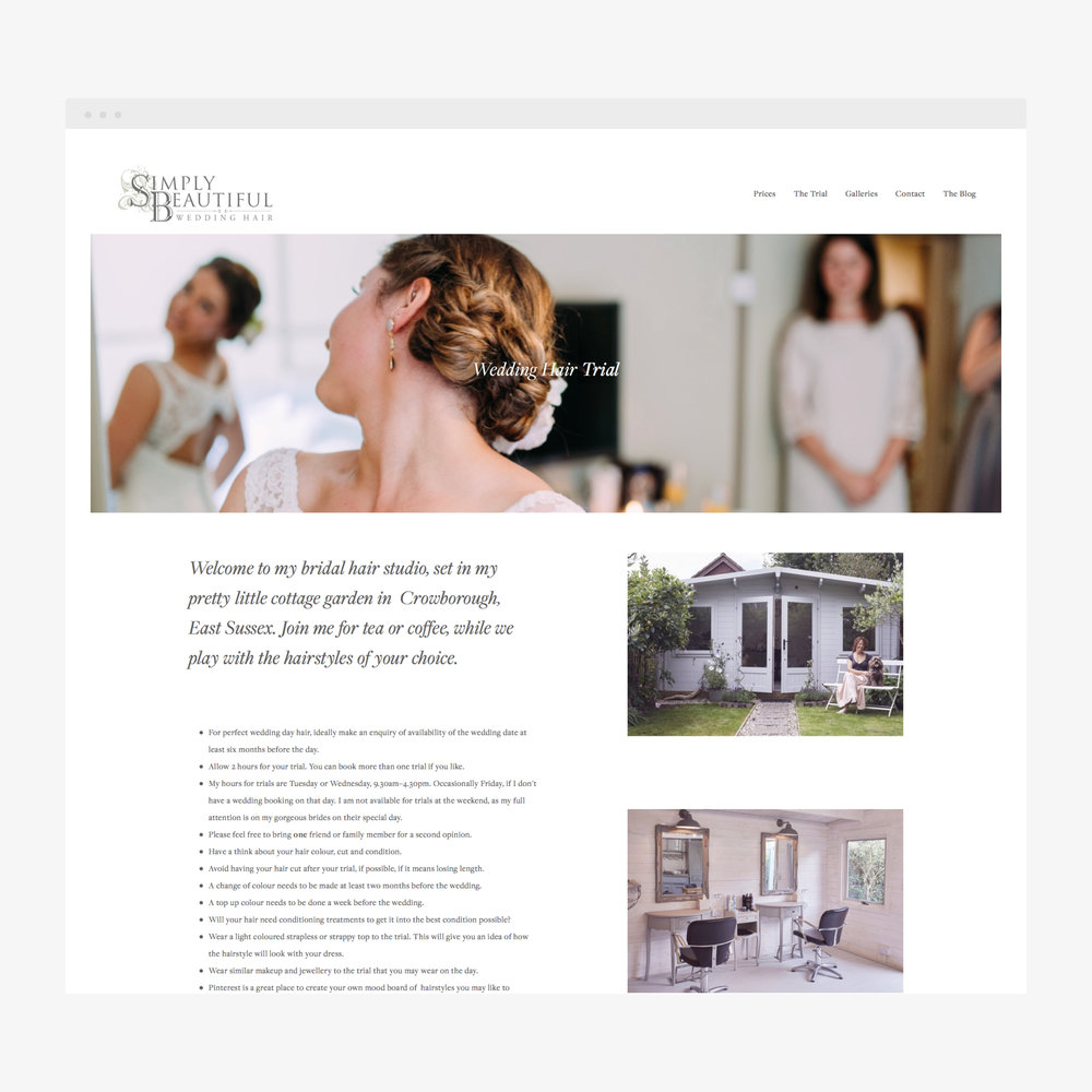 Simply Beautiful Wedding Hair Website design by Beth Cook Design, Sussex, Kent, Tunbridge Wells