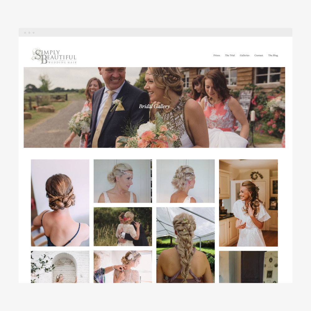 Website design for Simply Beautiful Wedding Hair, Crowborough, East Sussex