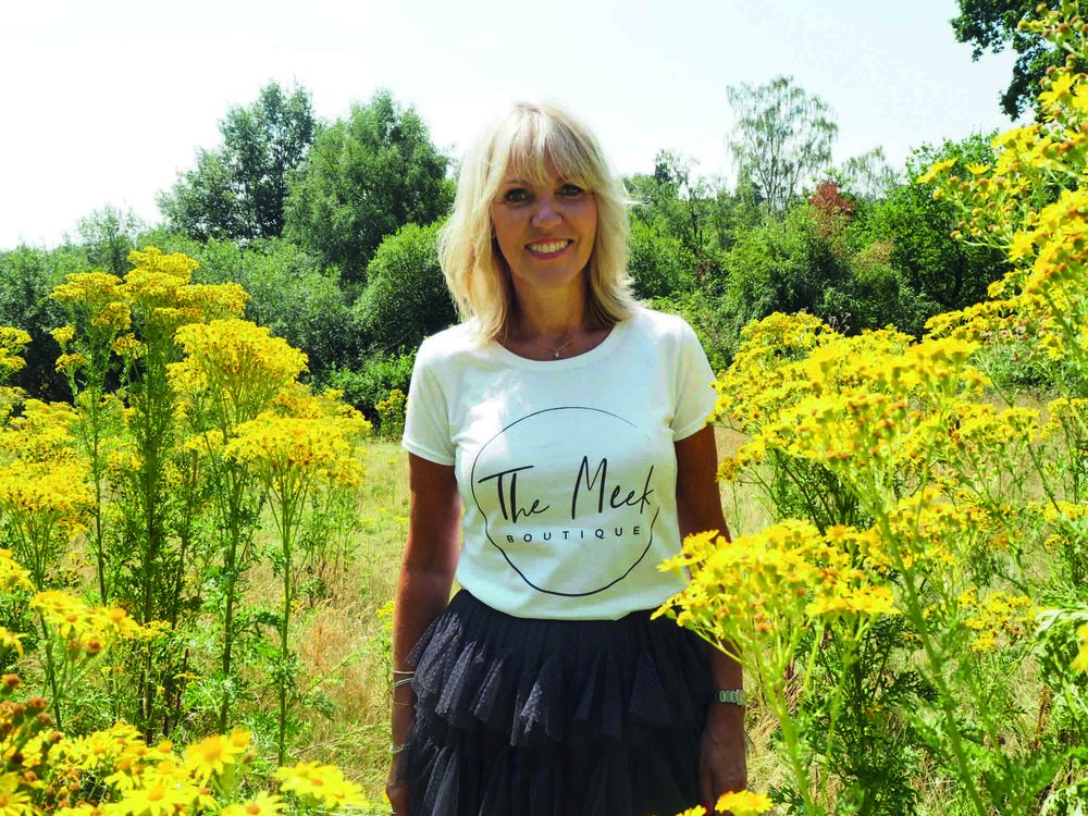 Lynne Meek, wearing branded t-shirt fot The Meek Boutique, Tunbridge Wells