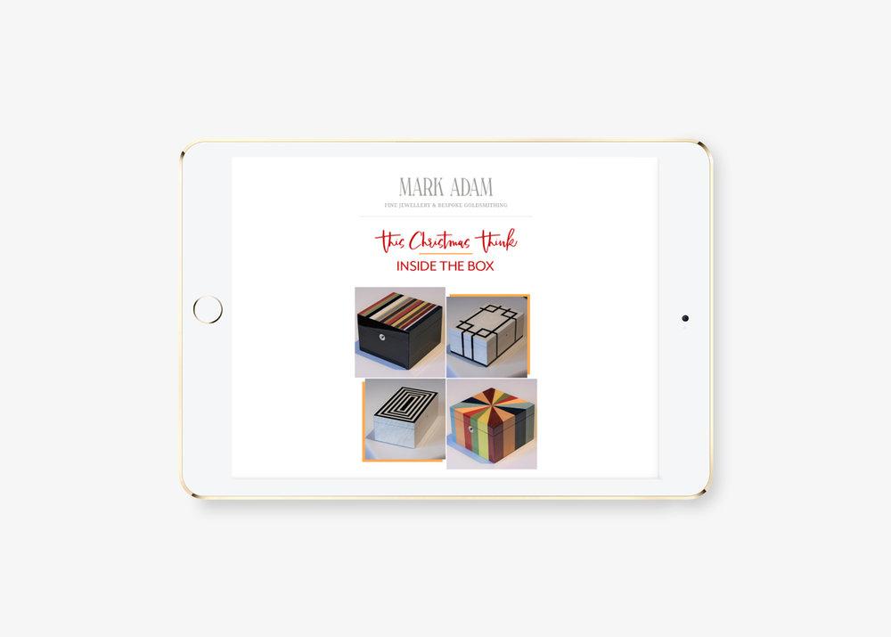 Mailchimp email advertising design agency for Mark Adam Jewellers, Tunbridge Wells, Kent