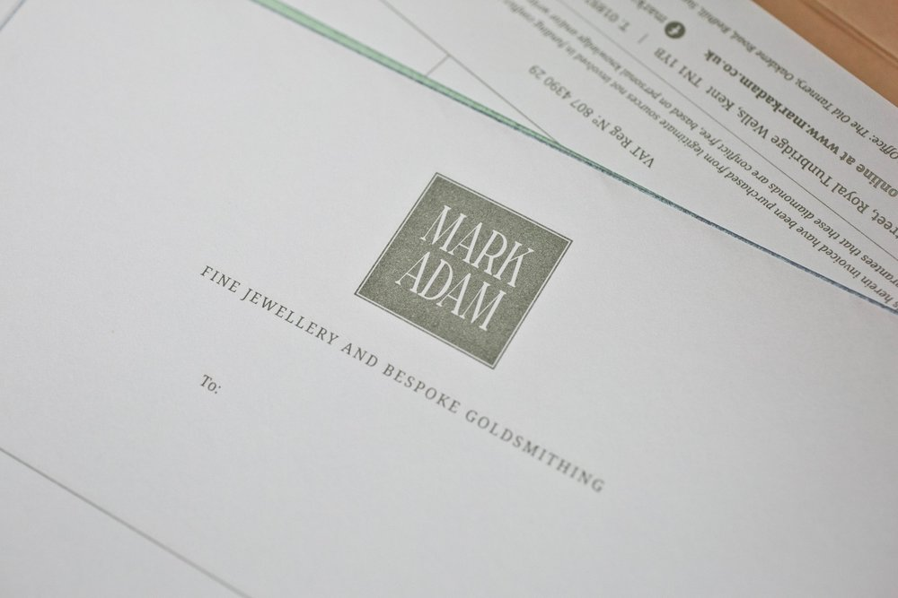 Business stationery design company for Mark Adam Jewellers, Tunbridge Wells, Kent