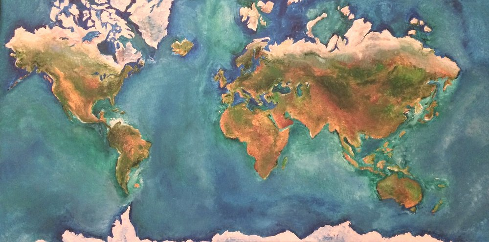 "Our World, acrylic 24"" x 48"" 2014"