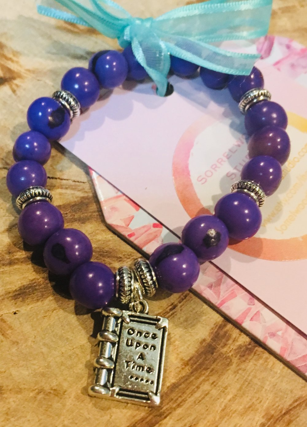 Purple Acai and Book Charm Bracelet