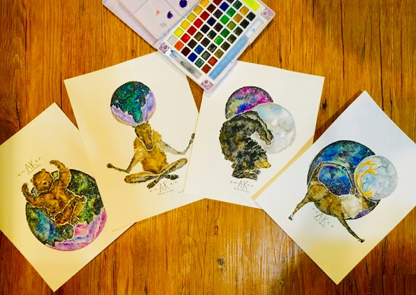 Watercolor Yoga Animals