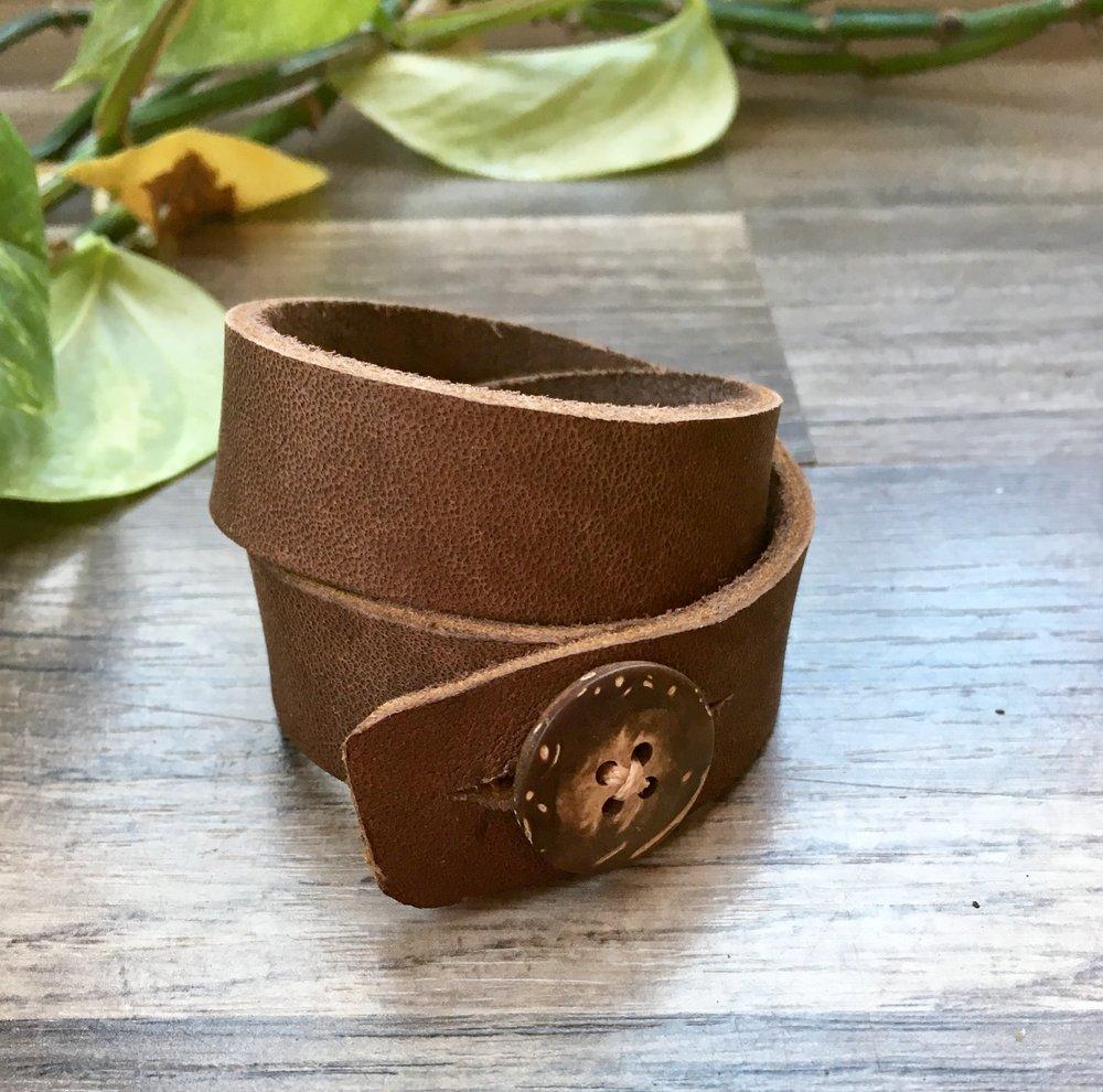 Leather Wrap & Coconut Button