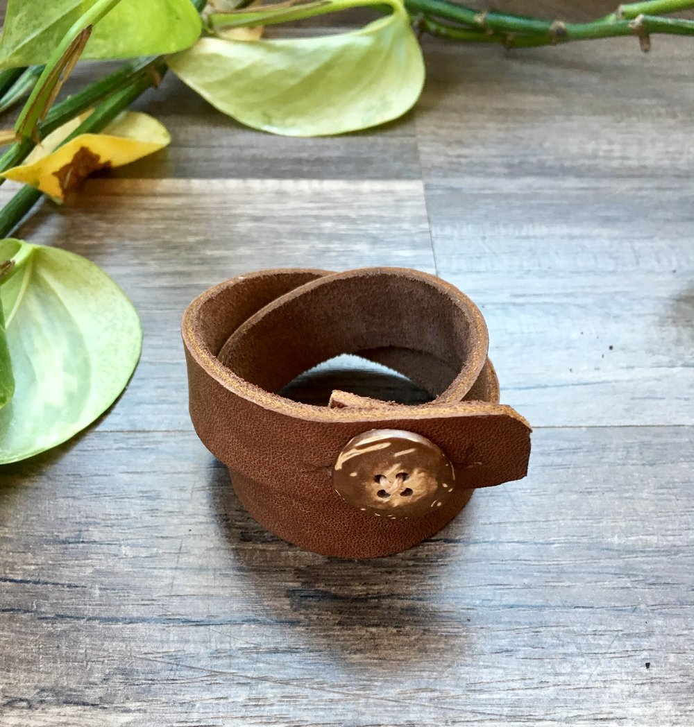 Leather Wrap & Coconut Shell