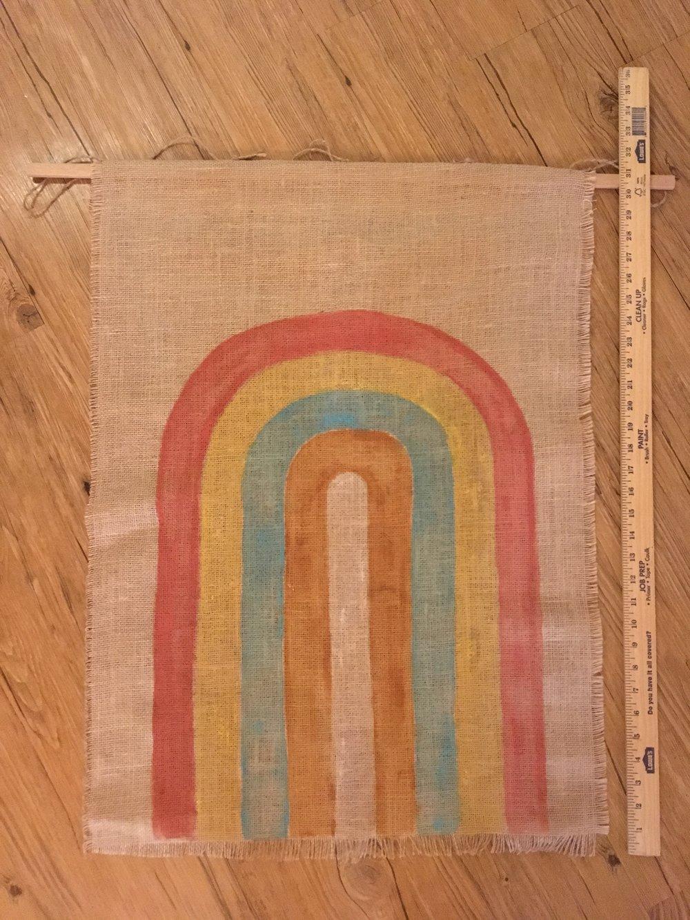 Hand painted rainbow on burlap