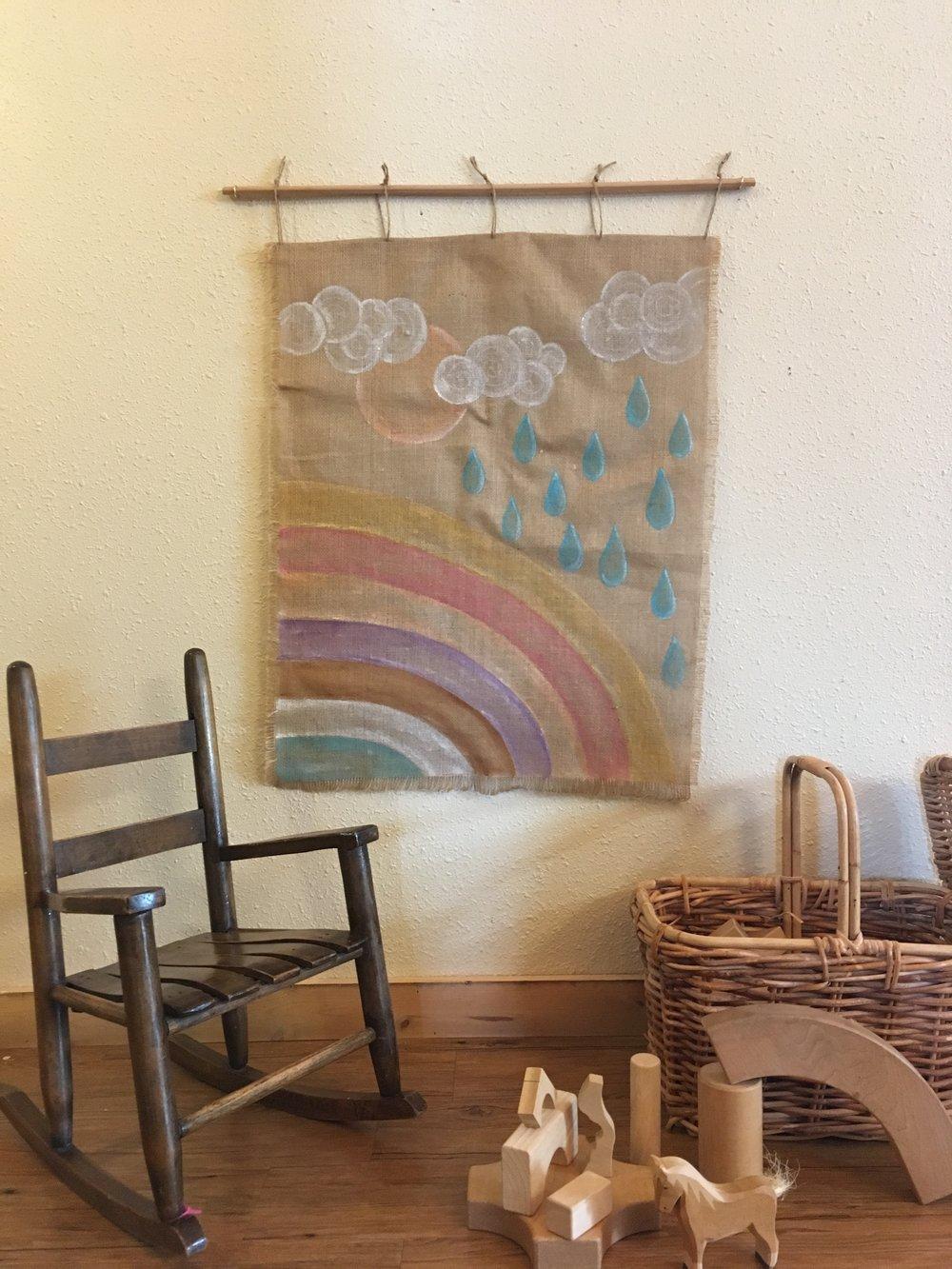 Hand Painted Rainbow Burlap Tapestry
