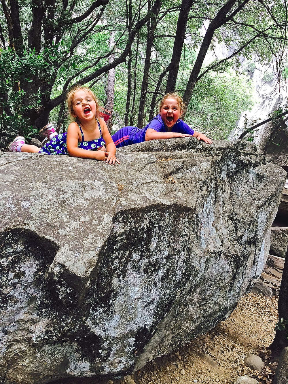 At Yosemite Falls the girls found some rocks to climb