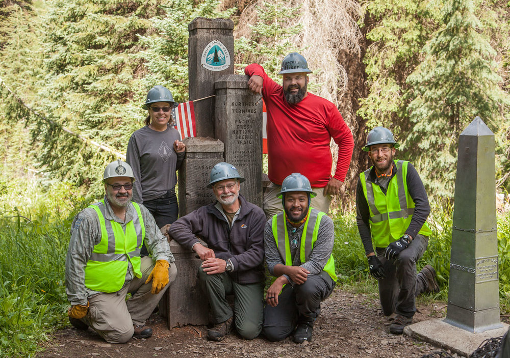 PCTA crew before taking down the old monument. Left to right Roger St John, Shannon Cunningham-Leader, Loren Schmidt, Jeremy Canaria, Rudy Giecek and Michael Hanley  Photo Courtesy of Loren Schmidt