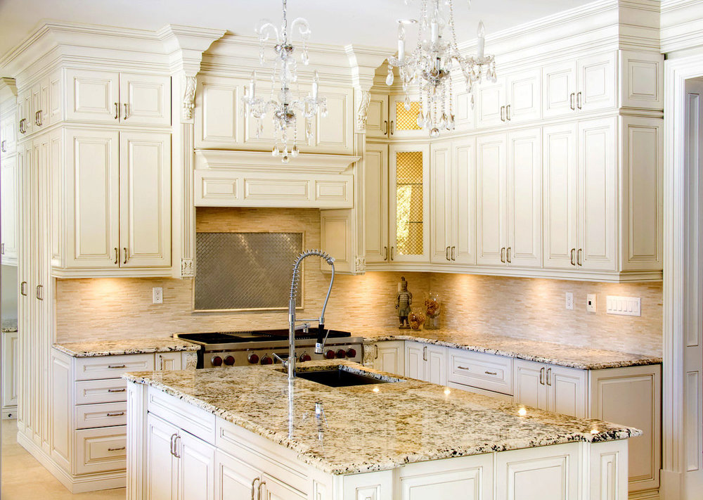 Awesome Granite Kitchen Countertops With Captivating White Cabinets .  Central Granite Repair