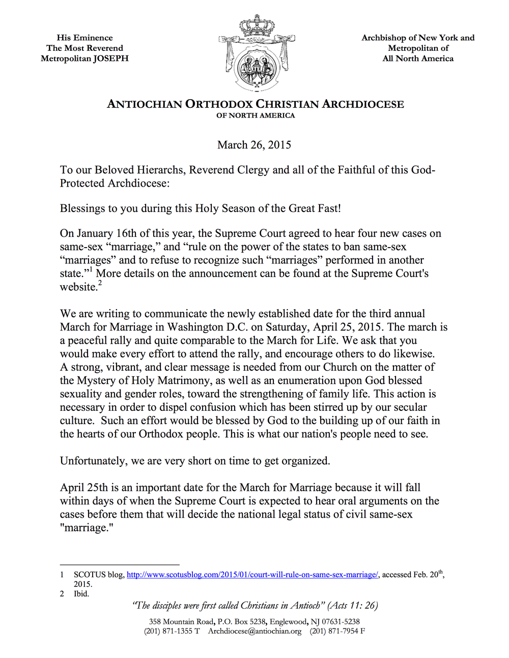 Click image to download a PDF of His Eminence's letter of blessing.