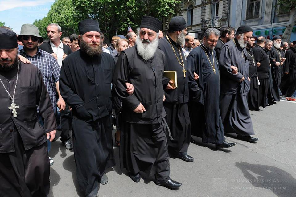 Public square rally in the country of Georgia, led by Orthodox Christian clergy and monastics marching in unity in support of Christian sexual morality.