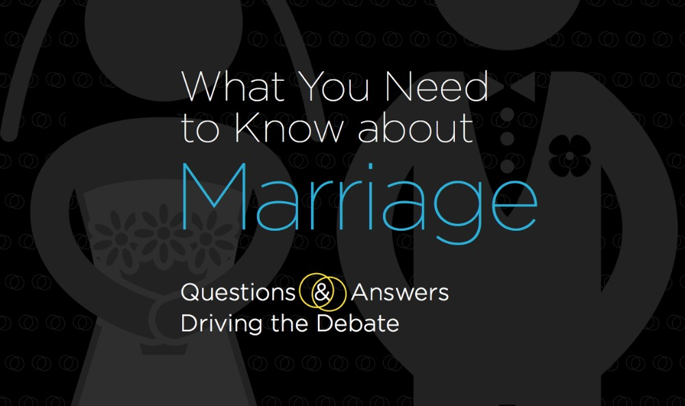 "Frequently Asked Questions on defining marriage, including… ""What are the consequences of redefining marriage?"" ""Why does marriage matter to the government?"" …and 13 more hot-button questions, with answers"