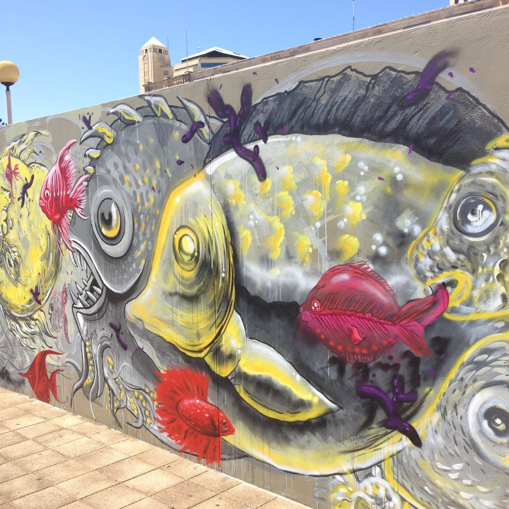 contributions to group mural painted as part of  Hitnes  mural masterclass