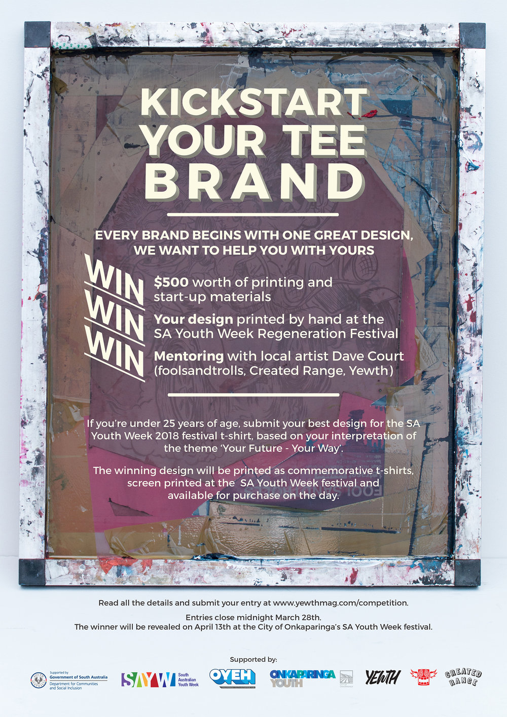 Poster design for Kickstart Your Tee Brand competition, run in conjunction with Onkaparinga council.