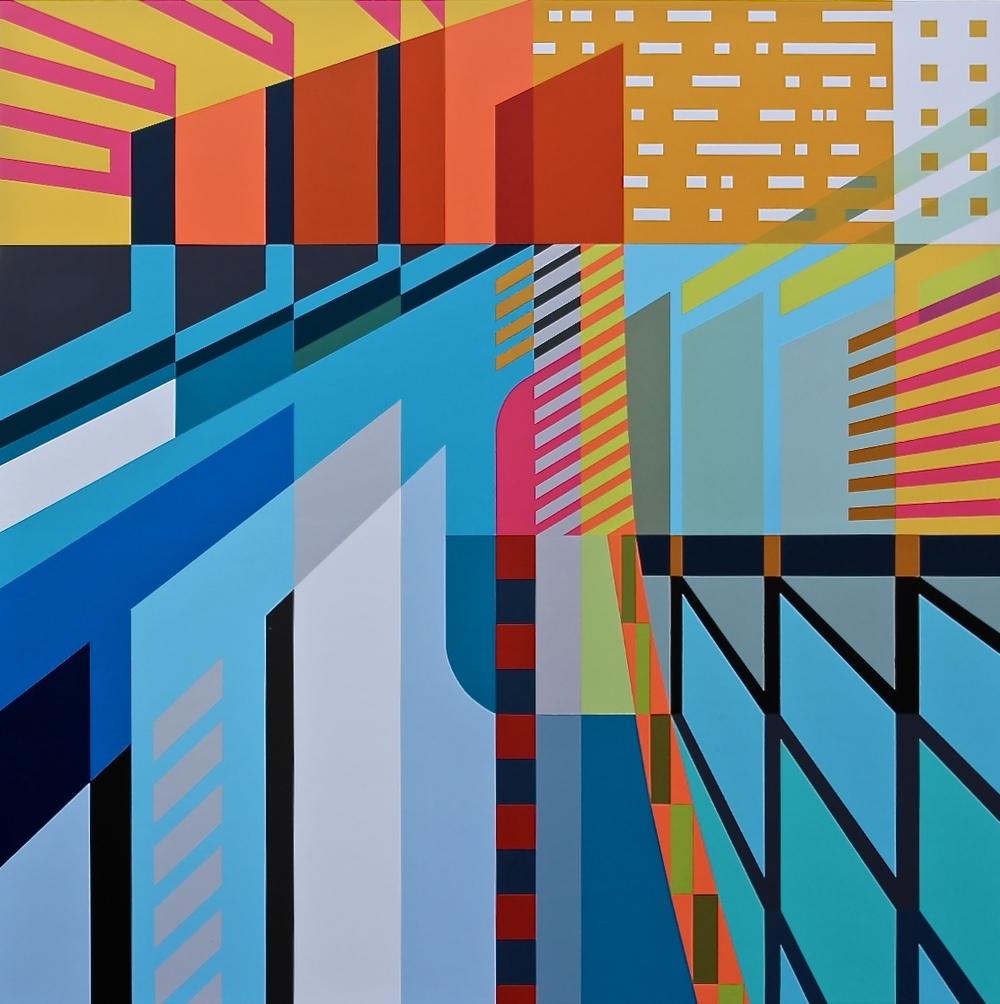"ATLANTIS   45"" X 45"" X 2.75"" | Spray Paint and Gesso on Wood  .  https://www.heitschgalerie.de/en/artists/jessus_hernandez/works/atlantis     .    .    .    ."