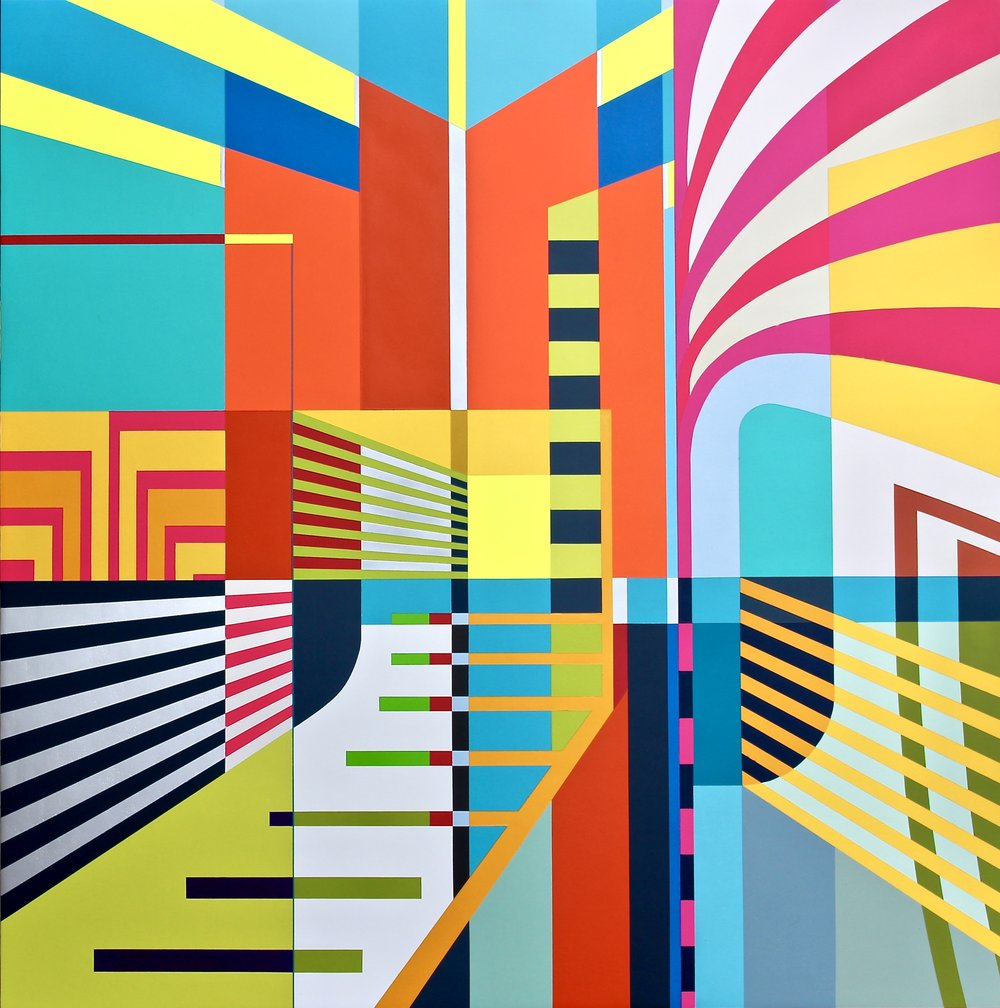 "DTLA   Acrylic, spray paint and gesso on cradled oak board  45""H X 45'W X 2.75""D"
