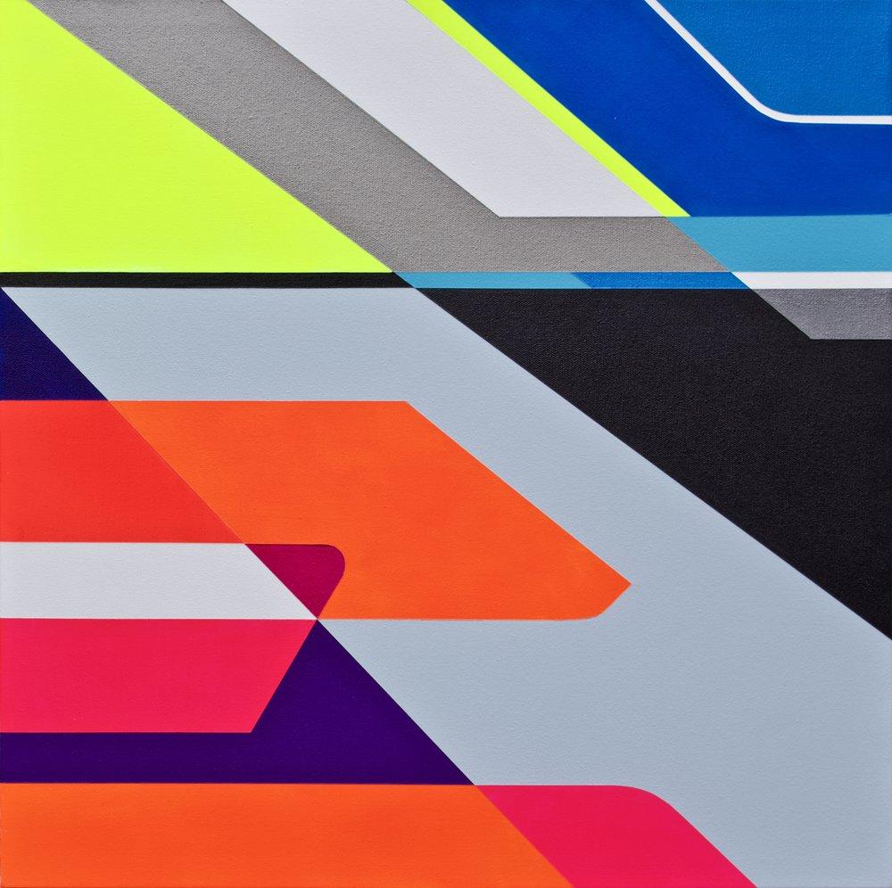 "CORONA  Acrylics On Canvas  22"" X 22"" In   55 X 55 Cm"