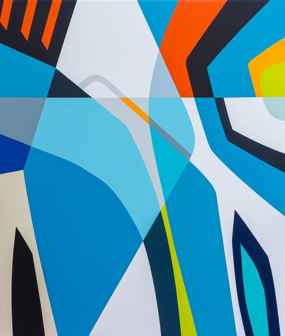"LADY BLUE   56"" X 48"" X 2.75"" | Acrylics, Enamel and Gesso on Wood  .  ."