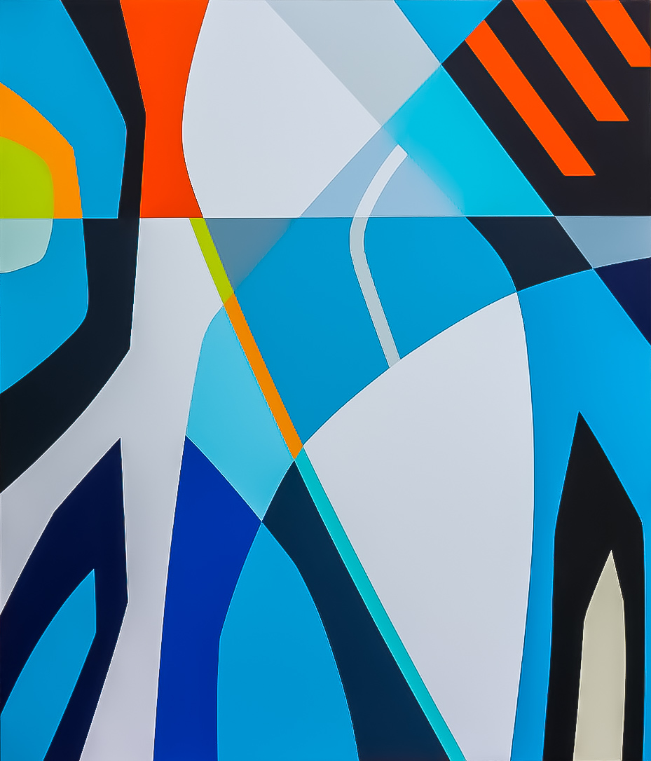 "LADY BLUE II   56"" X 48"" X 2.75"" | Acrylics, Enamel and Gesso on Wood  .  ."