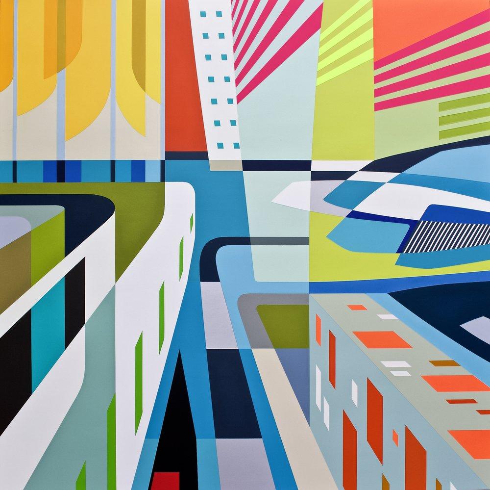 "CONTEXT ART MAMI 2018     NUOVA VENEZIA III   45"" X 45"" X 2.75"" | Spray Paint and Gesso on Wood  Framed  .  ."