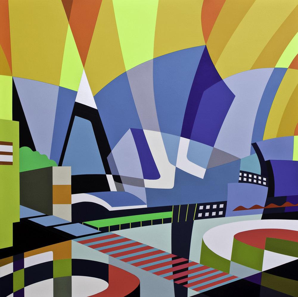 "Showing at Miami CONTEXT ART 2018     https://www.heitschgalerie.de/en/artists/jessus_hernandez/works/la_concert_hall    https://www.artsy.net/artwork/jessus-hernandez-la-concert-hall    L.A. CONCERT HALL   45"" X 45"" X 2.75""  Acrylics, Spray Paint and Gesso on Cradled Maple Board"