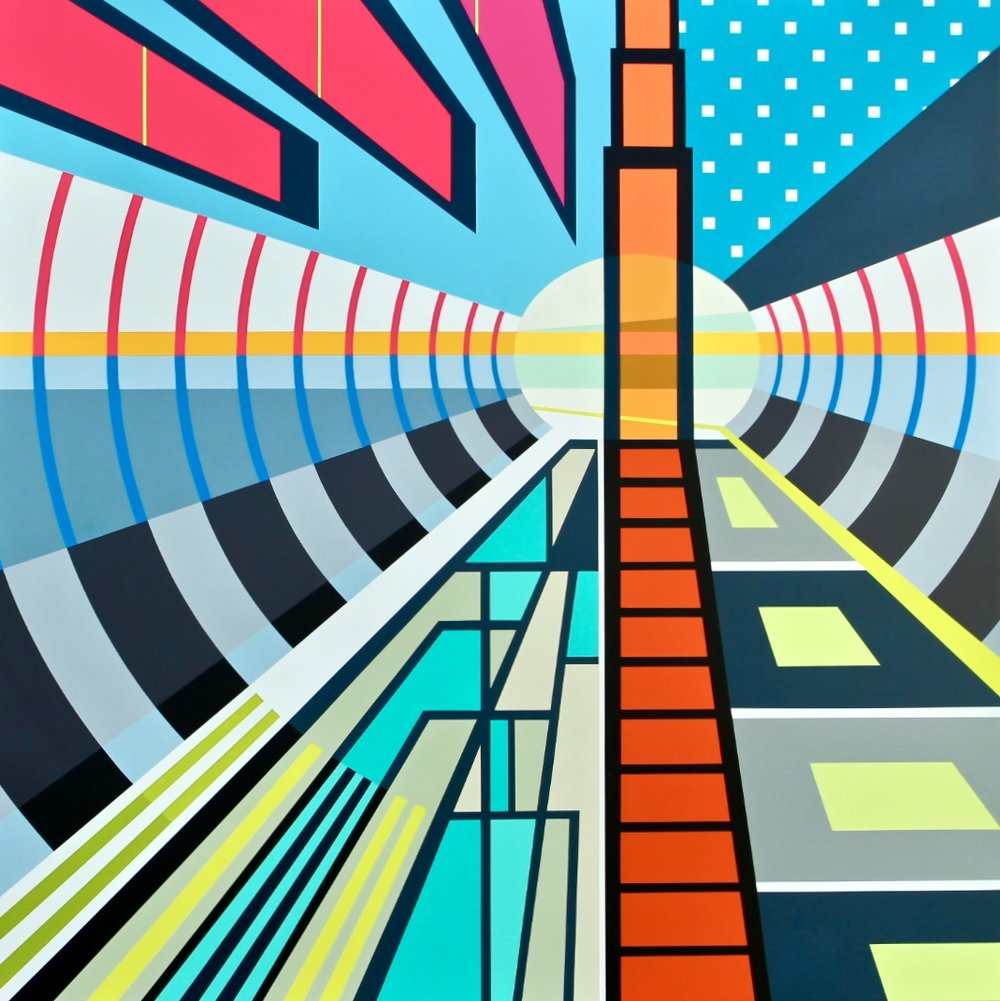 """CAMPO GRANDE TUNNEL   45"""" X 45"""" X 2.75""""   Spray Paint and Gesso on Wood  .  ."""