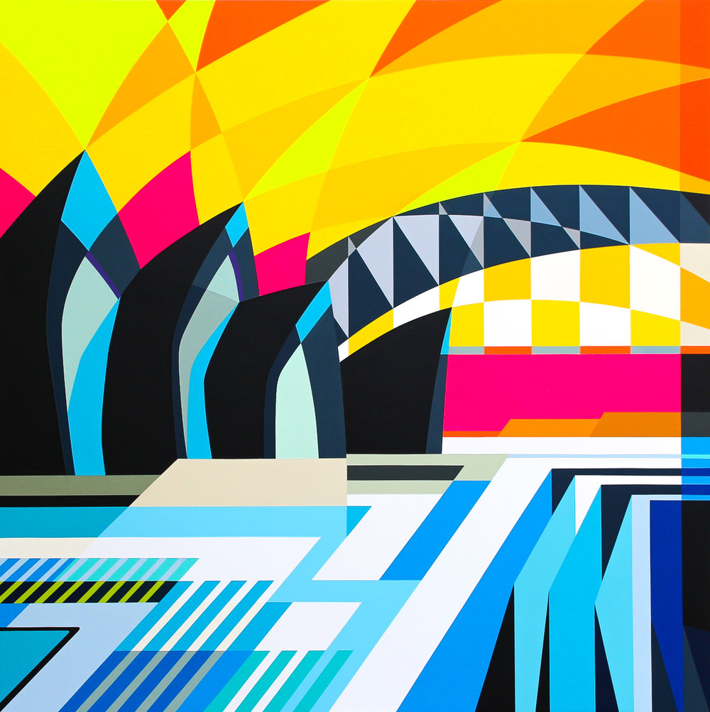 """SYDNEY OPERA HOUSE   45"""" X 45"""" X 2.75""""  Spray Paint and Gesso on Wood"""