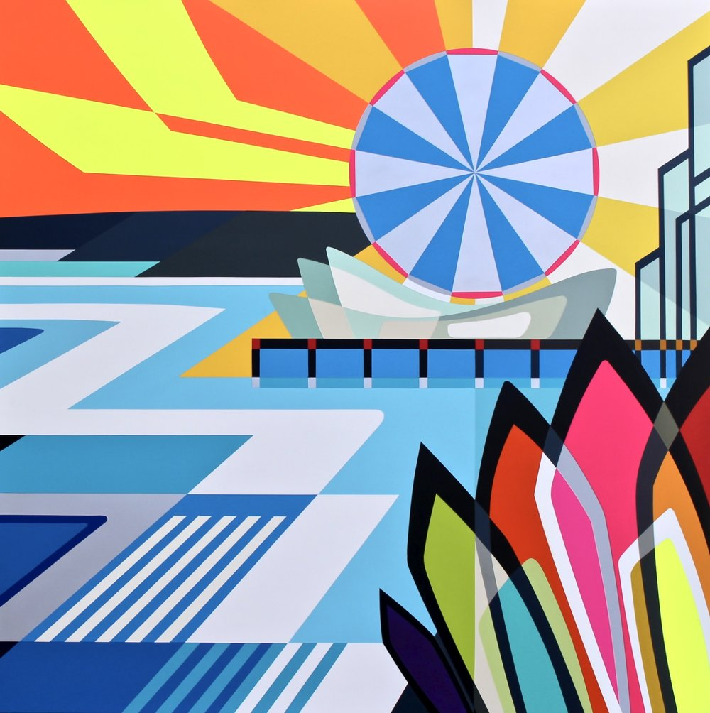 """SANTA MONICA   45"""" X 45"""" X 2.75""""     Spray Paint and Gesso on Wood  .  ."""