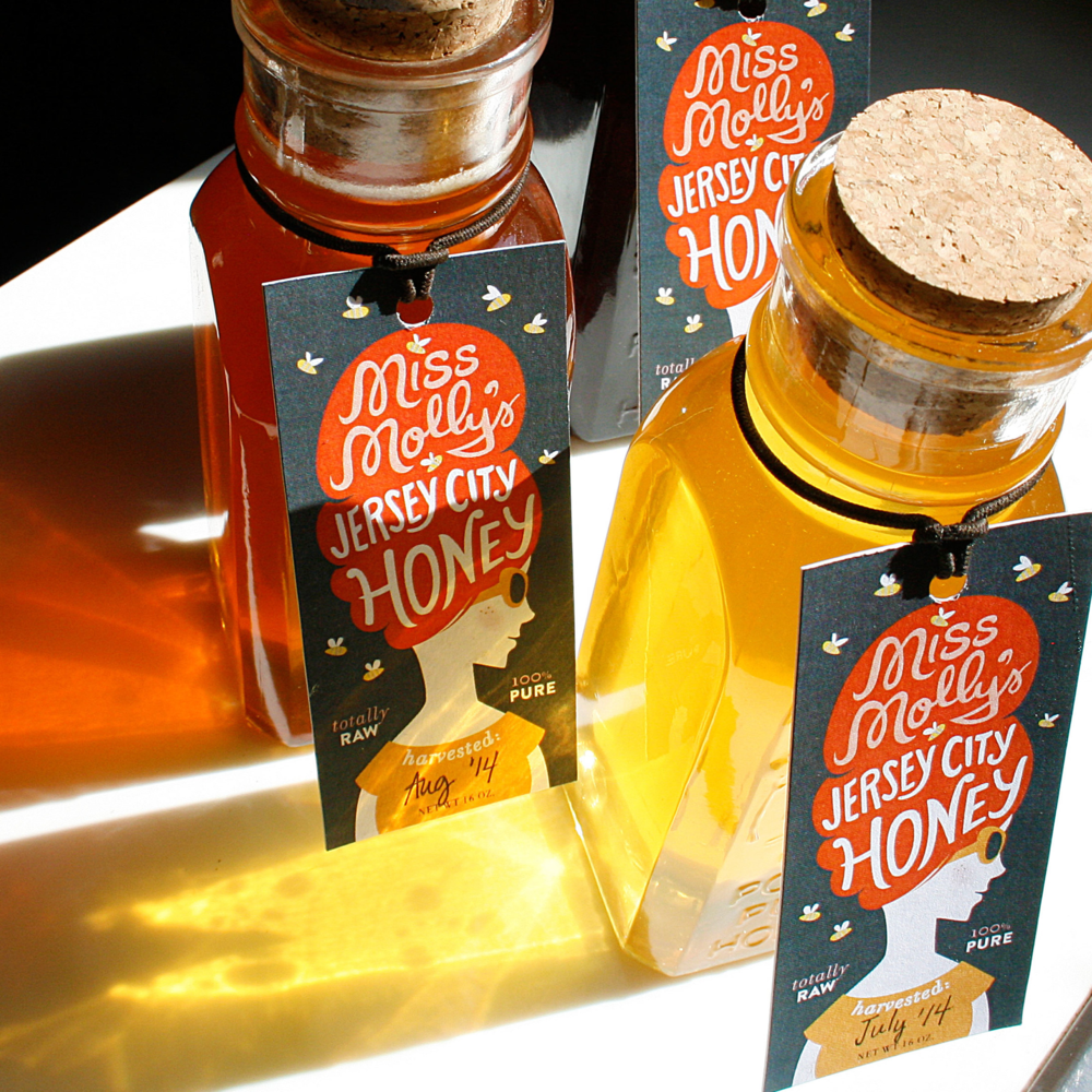 Three Batches of Miss Molly's Honeys, representing a season-wide range of honey colors and flavors.