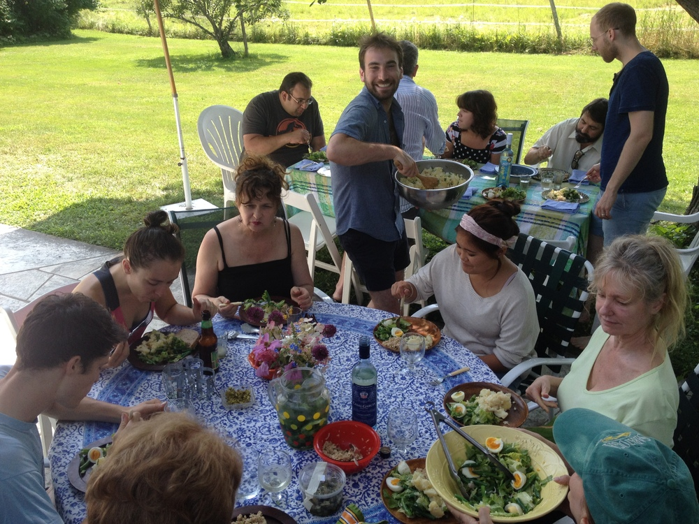 The cast and crew of  The Cherry Orchard  eating lunch al fresco.