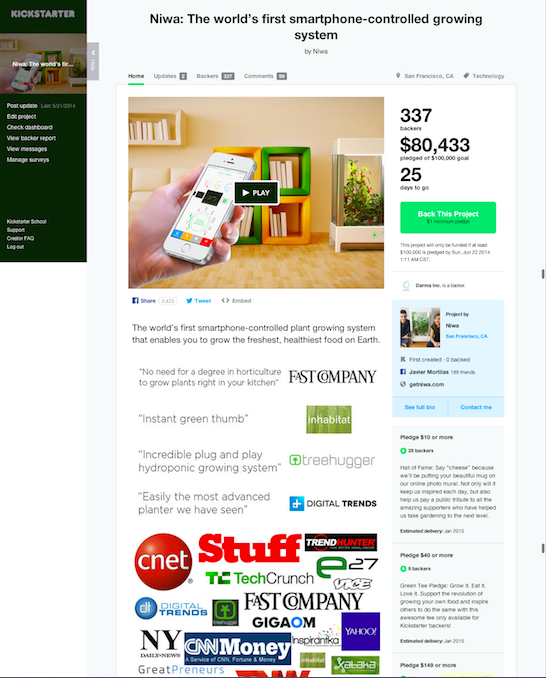 Crowdfunding Copywriter: Kickstarter Niwa