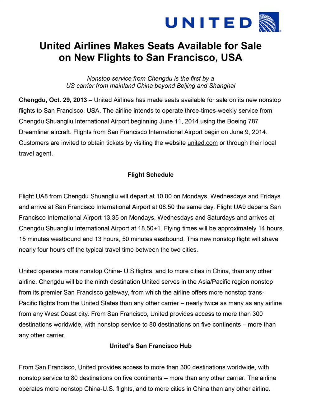 Press Release Writer:  United Airlines