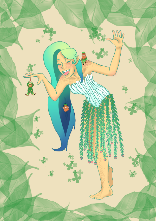 Have a wood nymph playing with some leprechauns! Regular posting will resume next week.