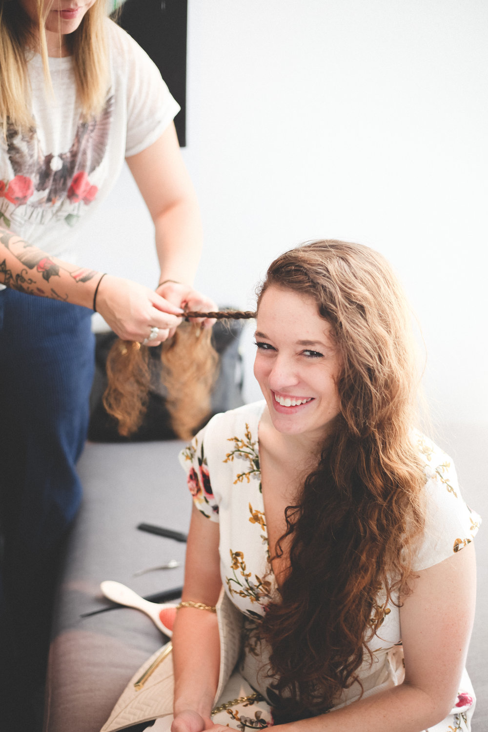 Kristen is all smiles at the La Vie braid bar