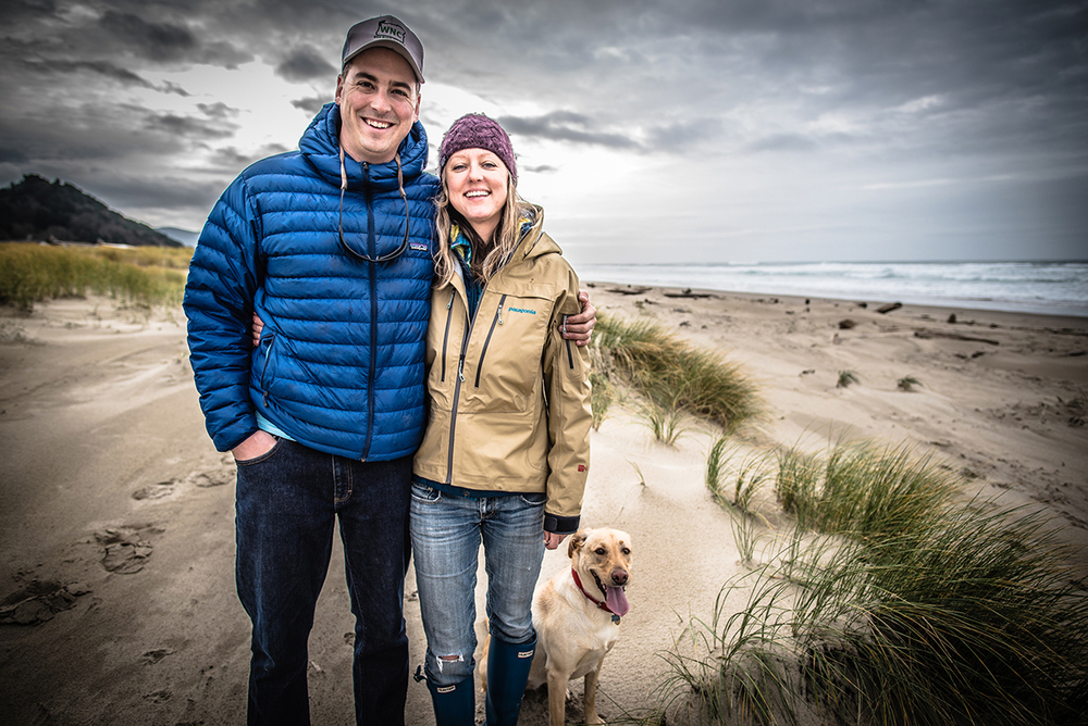 Justin Crump, Kate Taylor and Kada – North Coast steelhead guides and operators of Frigate Adventure Travel, Rockaway Beach