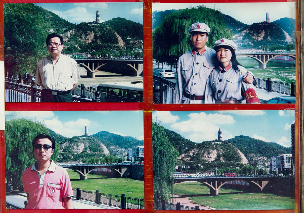 Photographies on display at a photographer's booth on a tourist spot of Yan'an, the city where Mao Tse-Tung ended his Long March and established the headquarters of China's Communist Party for 12 years before moving on to Beijing in 1949.