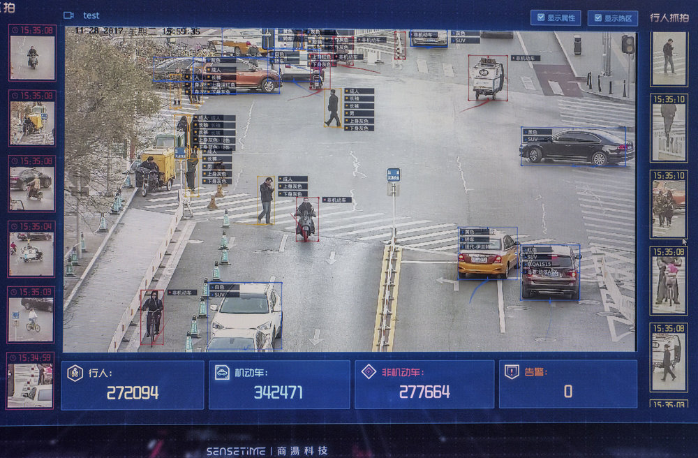 Screen capture of CCTV live footage using the face and vehicles recognition system from   Developed by the Chinese start-up Sensetime, this A.I. system coupled with the the CCTV camera, allows for basic descriptions of individuals and vehicles.